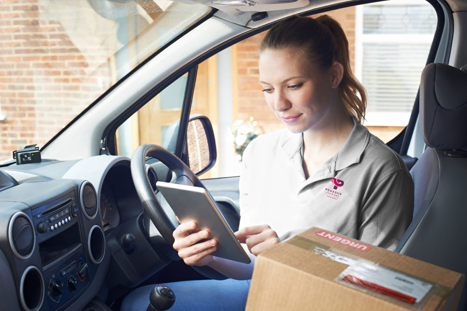 Driver in van Pegasus Couriers